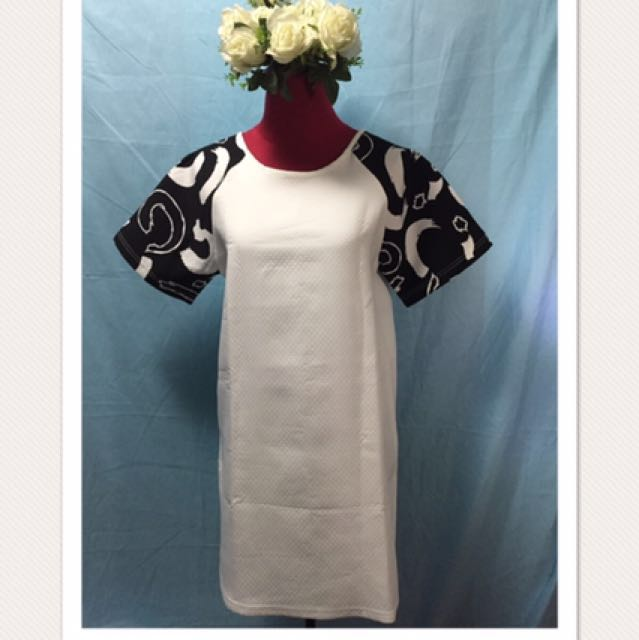 White Shift Dress with print accents on sleeves