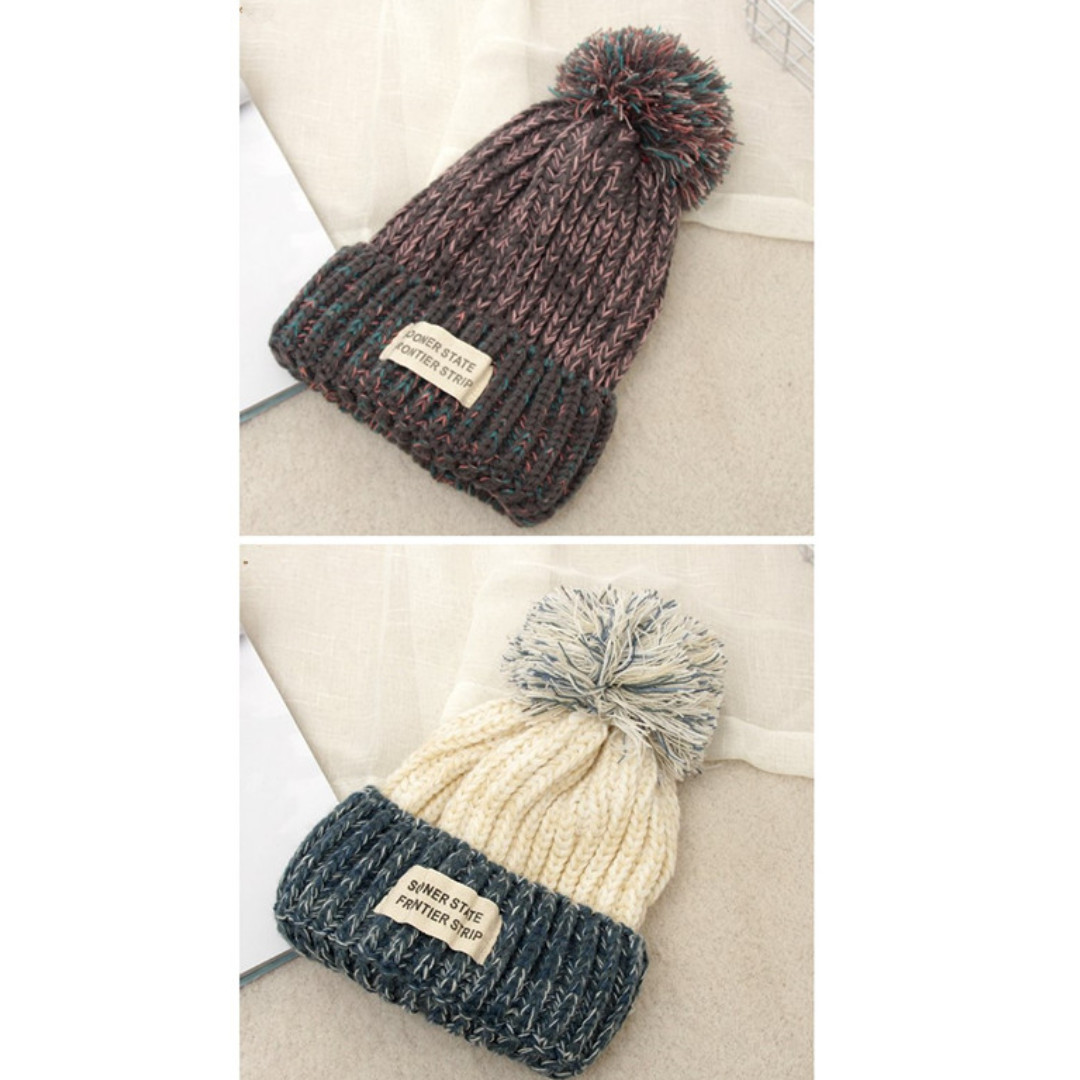 Wool cap 毛線帽 針織帽 Hat 秋冬季款 針織帽子 保暖女式毛線帽 帽子 兩色
