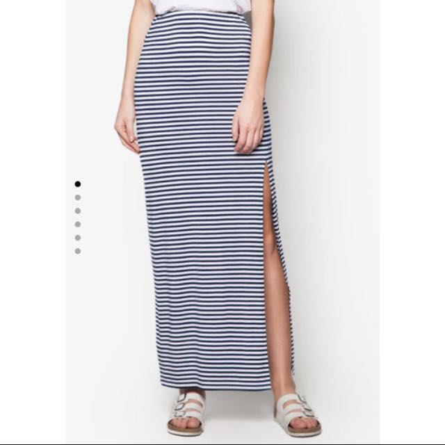 Zalora stripe slit maxi skirt