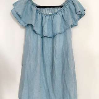 Zara Off-shoulder chambray dress