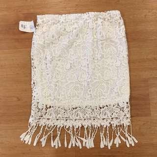 White Lace Bodycon Skirt