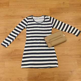 Long Sleeved Striped Bodycon Dress