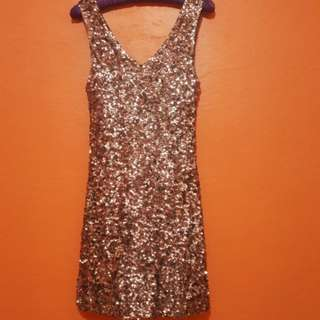 Amber Blue Sequined Cocktail Dress (SILVER)