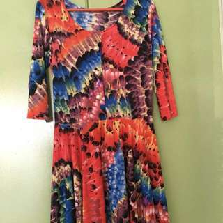 [REVISED PRICE]Abstract Printed Red dress/long blouse
