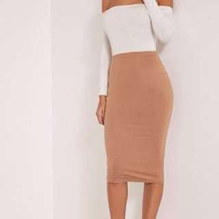 Pretty Little Thing NUDE MIDI SKIRT Size S
