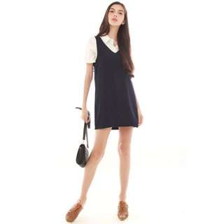 ACW Detachable Two Piece Preppy Dress In Navy *REDUCED*