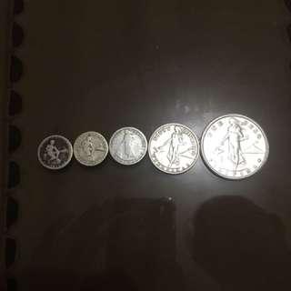 5c. coin - 1944 & 1945 (73 & 74 yrs. old) 20c. coin - 1907 (110 yrs.) 50c. coin - 1944 (74 yrs. old) Php 1.00 coin - 1908 ( 109 yrs. old)