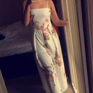 White Floral Backless/Tie Up Jumpsuit