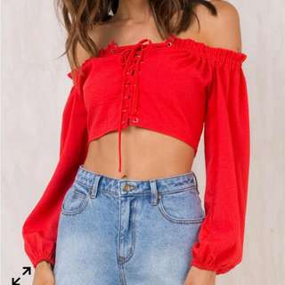 Princess Polly Crop Off Shoulder Top Red Lace Up Size 8