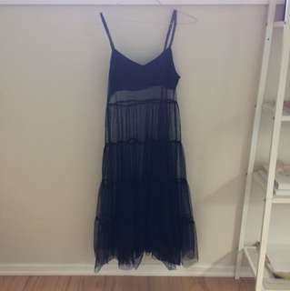 black tule sheer maxi dress
