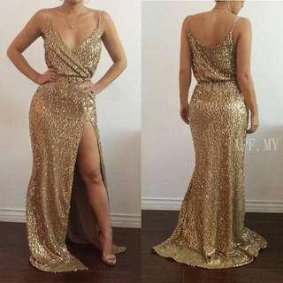 Gold Sequin Slit Dress (PRE ORDER)