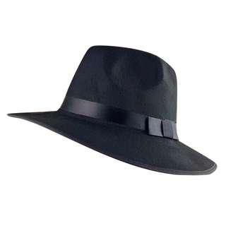 Black Felt Panama Hat With Ribbon Trim