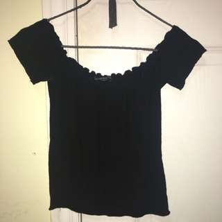 Brandy Melville Black Ribbed Off The Shoulder Tee