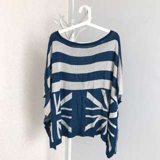 Baju Union Jack Biru - Batwing - model Kelelawar - bahan Wool
