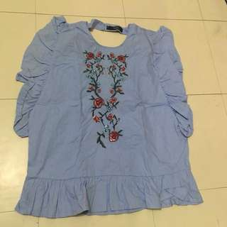 Embroidered Sleeveless Blouse with Ruffles