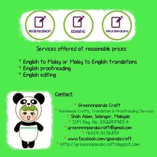 Translation, Editing, and Proofreading Services