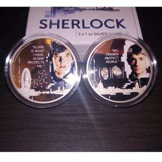 2016 Official BBC Hartwood Films Sherlock Homes 2x1 Troy Ounce 999 Silver Coin