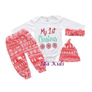 ♪Ida Kids♪紅色聖誕套裝四件套