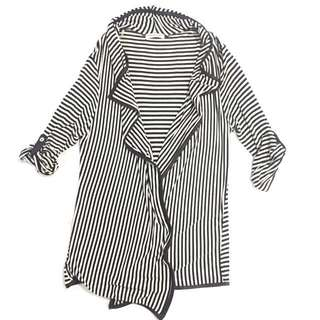 Brown and White Stripped Cardigan