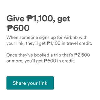 Airbnb First Time Users Travel Credit