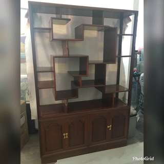 Double sided solid wood display cabinet: Width 122 Depth 35.5 Height 183 cm (top and bottom can be separated)