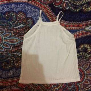 White ribbed halter top