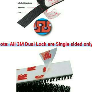 100% Genuine 3M Dual Lock Fastener SJ3551 Black - 400 stem count, super strong grip.   20cm or 40cm Single Strip Single Side. Super Strong VHB Adhesive Back.