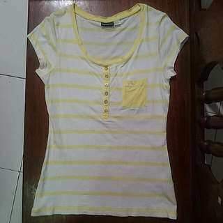Striped Yellow And White Shirt