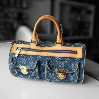 Authentic Louis Vuitton Denim Blue Neo Speedy M95019 LV