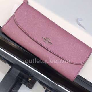 美國Coach long wallet SLIM ENVELOPE WALLET IN CROSSGRAIN LEATHER 長銀包 pink