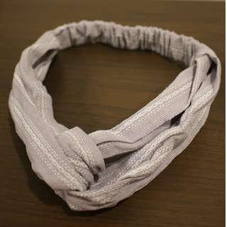 Twisted Bow Headband (Grey with white dots)