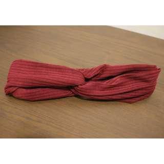Twisted Bow Headband (Maroon)