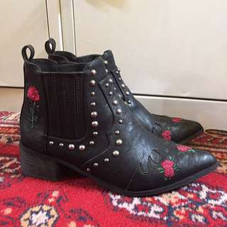 Black Embroidered Western Ankle Boots