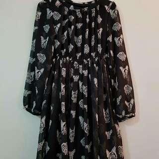 Chiffon Dress With Dog Print