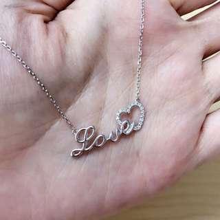 18K白Love 鑽石頸鍊
