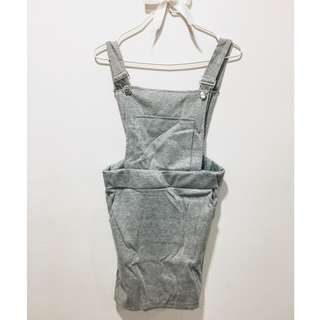 Dungaree Dress - Made In Korea (Grey)