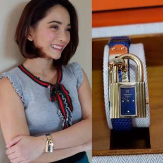 Authentic Hermes Kelly Watch Navy Blue lizard leather