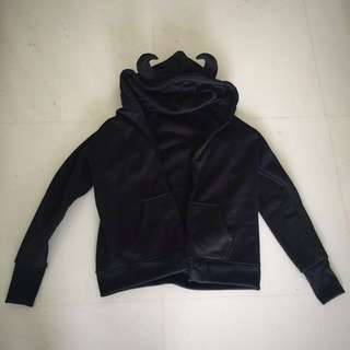 Devil horn black hoodie with pockets