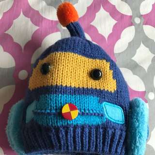 Super cute robot blue winter hat