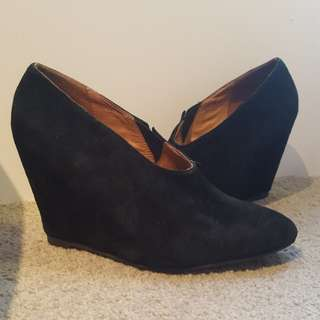 #30Flash Jeffrey Campbell leather low ankle black suede boots size 36 - 36.5