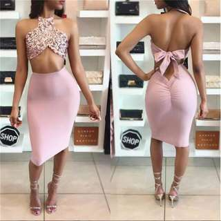 Pink Halter Sparkly Two Piece