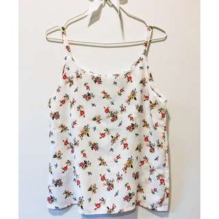 White Spaghetti Top (Red Floral)
