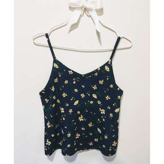 Navy Spaghetti Top (Yellow Floral)