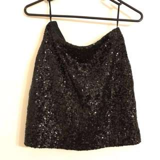 BACKSTAGE BLACK SEQUIN MINI SKIRT