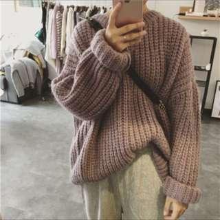 📣韓妞必備韓版學院風粗毛線純色套頭復古寬鬆襯衫