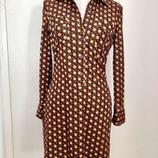 Authentic RETRO 70s vintage long sleeve shirt dress size small orange brown