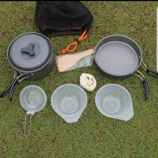 Outdoor/Camping aluminium alloy cooking set for 2 people