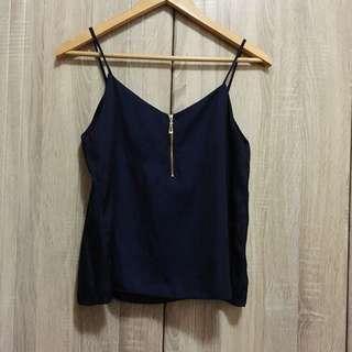 Navy Blue Silk Top w/ zipper