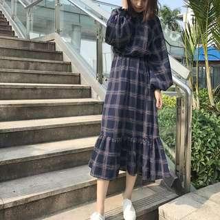 韓版格子洋裝
