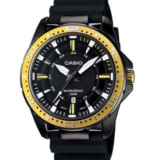 Casio Watch * MTD1072-9AV Gold & Black Steel Case Silicone Strap